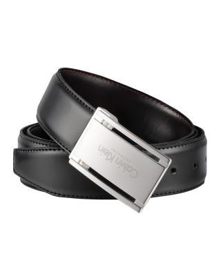意大利原装进口 Calvin Klein 卡尔文克莱因 男士黑色板扣双面皮带 SU31CK0007(完税版)