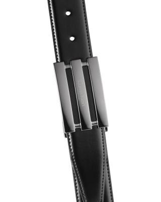 意大利原装进口 Calvin Klein 卡尔文克莱因 男士黑色板扣双面皮带 SU31CK0013