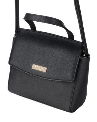 美国原装进口 Kate Spade 凯特丝蓓 laureal way mini alisanne 黑色皮革女士小号手提斜挎单肩包 WKRU4666-001