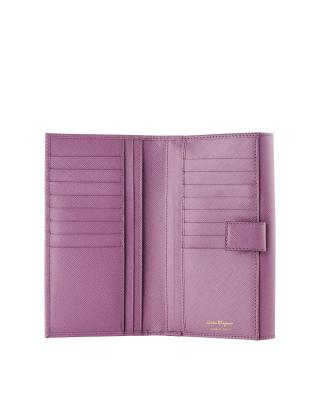 意大利 Salvatore Ferragamo 菲拉格慕 粉紫色名媛范真皮女士手拿钱包 600475LILA