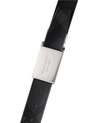 英国 Burberry 博柏利 炭灰/黑色拼色PVC配小牛皮男士板扣腰带 4056591 02600-CHARCOAL BLACK 尺码:110cm