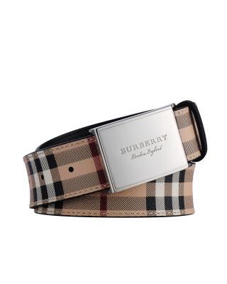 英国 Burberry 博柏利 男士卡其色PVC配小牛皮经典格纹板扣腰带 4062509 0010T-BLACK 尺码:95cm