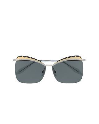 英国 Alexander McQueen 亚历山大·麦昆 女士时尚太阳镜  AM0059S 003 60 银色镜框灰色镜片 60mm