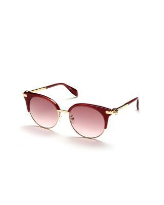 英国 Alexander McQueen 亚历山大·麦昆 女士时尚太阳镜 AM0082S 003 56 圆形红色镜框粉色镜片56mm