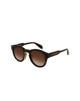 英国 Alexander McQueen 亚历山大·麦昆 中性时尚太阳镜 AM0046S 004 圆形AVANA镜框棕色镜片50mm