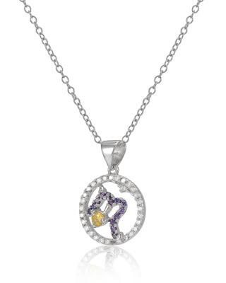 Celine Fang 赛琳·方 星座系列 925银天蝎座圆形吊坠 紫+黄 赠送链子随机配送,以实物为准