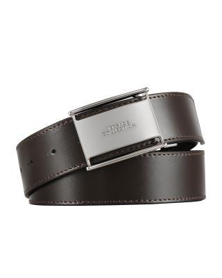 意大利原裝進口 Versace 范思哲 男士深棕色真皮平滑扣腰帶 V91186SVM00046V239 #110碼