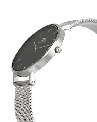瑞典原装进口 Daniel Wellington 丹尼尔惠灵顿 32mm银色边金属表带女士石英表 DW00100162