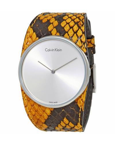 美国 Calvin Klein 卡尔文克莱因 黄色蛇纹皮革女士石英手表 K5V231Z6