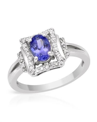 Celine Fang 赛琳.方 14K白金0.92克拉天然坦桑石钻石戒指