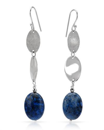 Krementz 韦文氏 925银天然蓝线石耳环