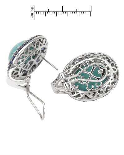 FPJ 925银28.2克拉绿松石耳环