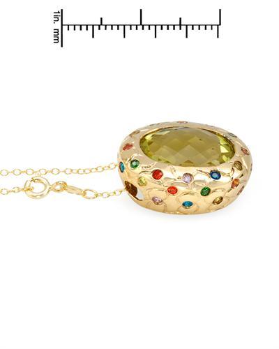 FPJ 925银镀金13.9克拉天然石英项链