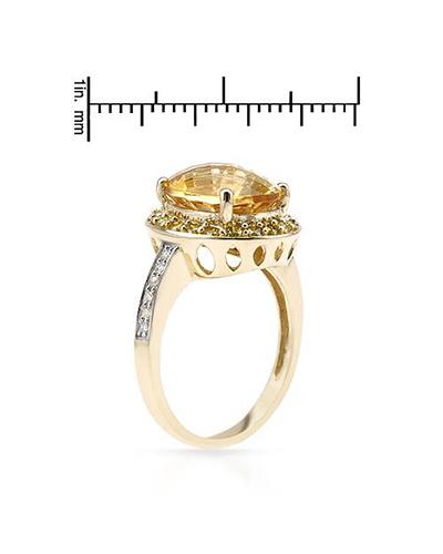 FPJ 14K黄金4.69克拉天然黄晶鸡尾酒戒指