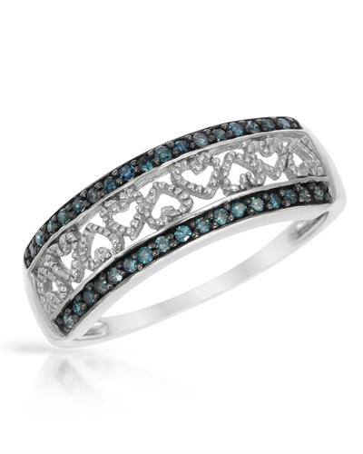 De Dears 黛狄尔斯 925银0.25克拉纯天然钻石心形戒指