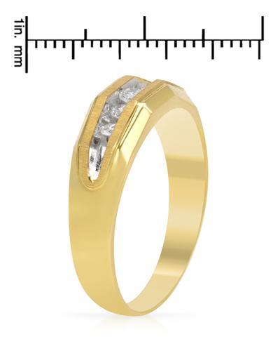 De Dears 黛狄尔斯 14K黄金0.25克拉纯天然钻石男士戒指