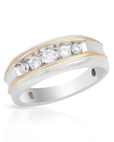 De Dears 黛狄尔斯 14K彩金0.5克拉纯天然钻石男士戒指