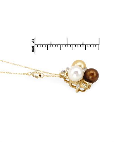 De Dears 黛狄尔斯 14K黄金0.05克拉纯天然珍珠钻石项链