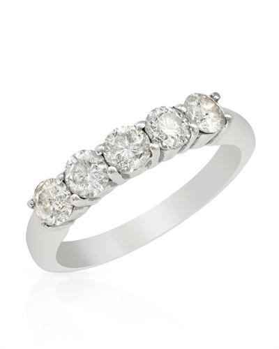 De Dears 黛狄尔斯 14K白金1克拉纯天然钻石女士戒指