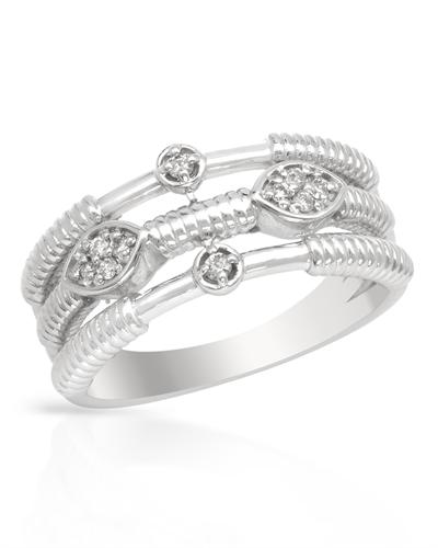 De Dears 黛狄尔斯 14K白金0.11克拉总重1005纯天然钻石女士戒指