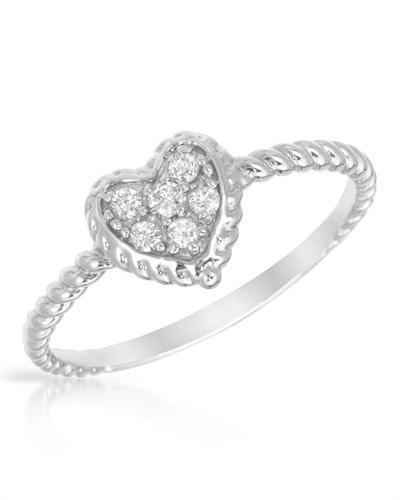 De Dears 黛狄尔斯 14K白金天然钻石女士心形戒指