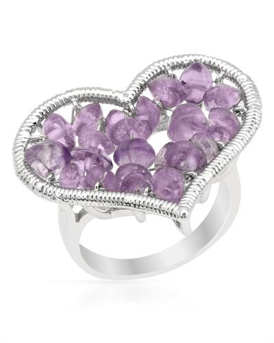 De Dears 黛狄尔斯 925银4.5克拉天然紫晶心形戒指