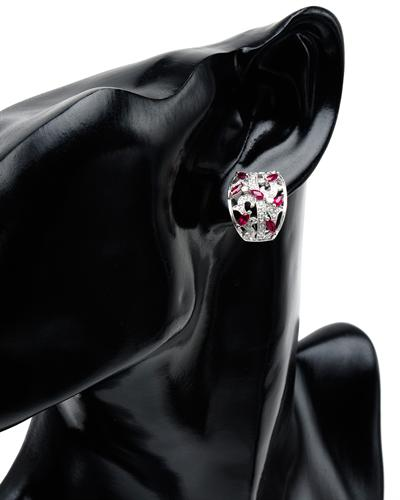 Celine Fang 赛琳.方 14K白金0.95克拉天然红宝耳环钻石