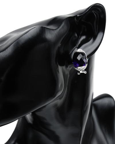 Celine Fang 赛琳.方 14K白金17.35克拉天然紫晶钻石耳环