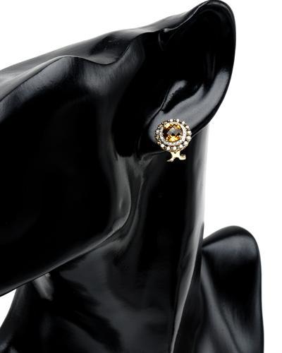 Celine Fang 赛琳.方 14K白金4.46克拉天然黄晶耳环