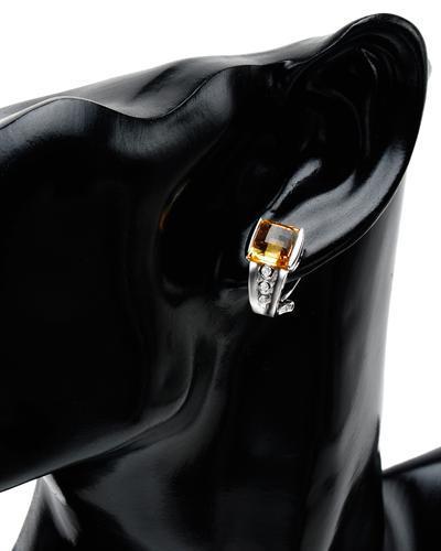 Celine Fang 赛琳.方 14K白金5.2克拉天然黄晶耳环