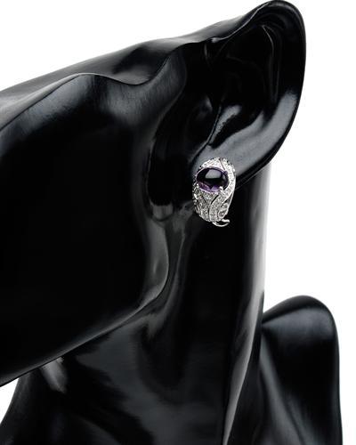 Celine Fang 赛琳.方 14K白金5.35克拉天然紫晶钻石耳环