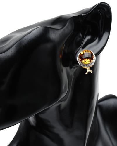Celine Fang 赛琳.方 14K彩金11.4克拉天然黄晶钻石耳环