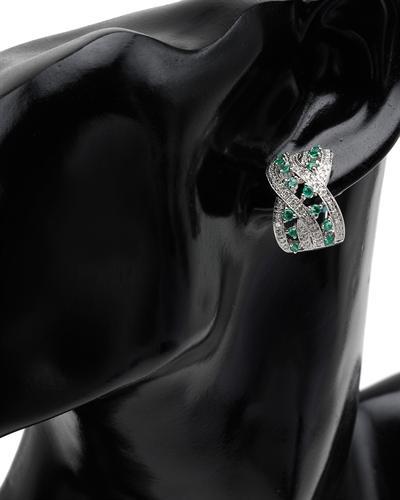 Celine Fang 赛琳.方 14K白金1.5克拉天然祖母绿耳环