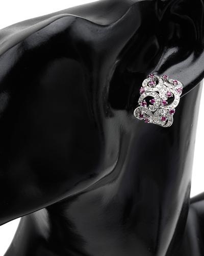 Celine Fang 赛琳.方 14K白金1.4克拉天然红宝钻石耳环