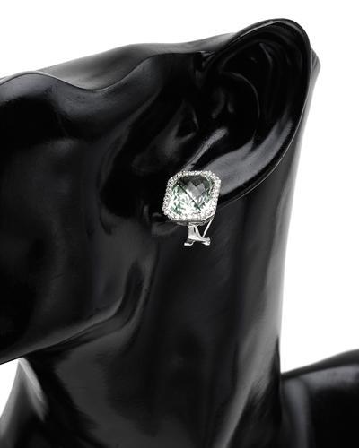 De Dears 黛狄尔斯 14K白金12.3克拉天然紫晶耳环