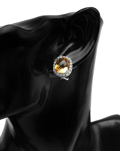 Celine Fang 赛琳.方 14K白金13.31克拉天然黄晶钻石耳环