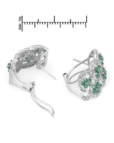 Celine Fang 赛琳.方 14K白金1.5克拉天然祖母绿钻石耳环