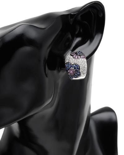 Celine Fang 赛琳.方 14K白金3.9克拉天然蓝宝钻石耳环