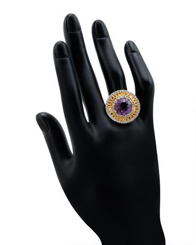 De Dears 黛狄尔斯 银镀金7.35克拉天然紫晶鸡尾酒戒指