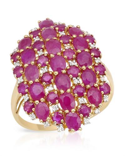 De Dears 黛狄尔斯 银镀金6.15克拉天然红宝戒指