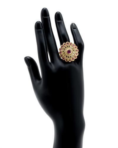 De Dears 黛狄尔斯 银镀金2.75克拉天然红宝戒指