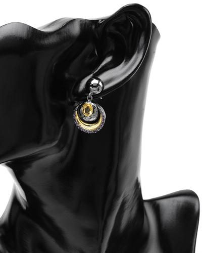 De Dears 黛狄尔斯 银镀金2克拉天然黄晶耳环