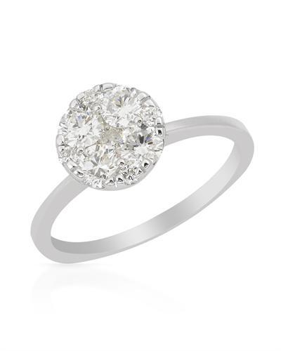 De Dears 黛狄尔斯 14K白金0.9克拉纯天然钻石戒指