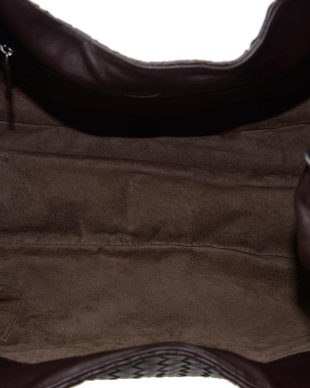 意大利 Bottega Veneta 宝缇嘉 啡色羊皮大号单肩编织包