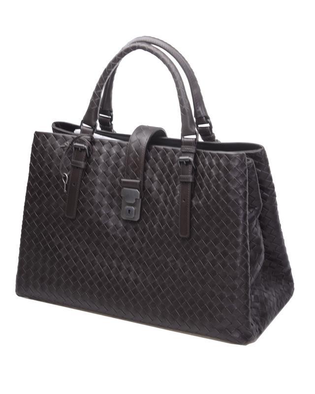 意大利 Bottega Veneta 宝缇嘉 深啡色羊皮材质经典编织纯色大号女士手提包