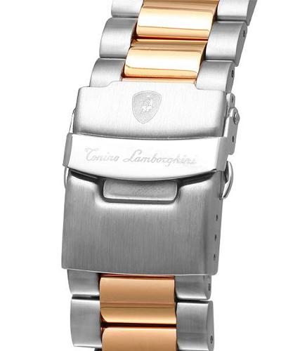 Tonino Lamborghini 兰博基尼蓝色316L精钢0.05克拉钻石男士三眼日历计时石英腕表 EN033D.505