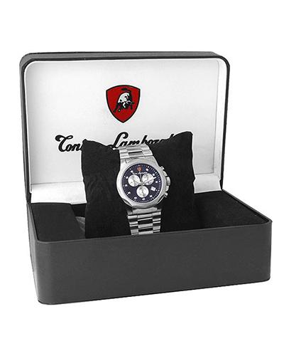 Tonino Lamborghini 兰博基尼藏蓝色316L精钢0.05克拉钻石男士三眼日历计时奢华石英腕表 EN033D.105
