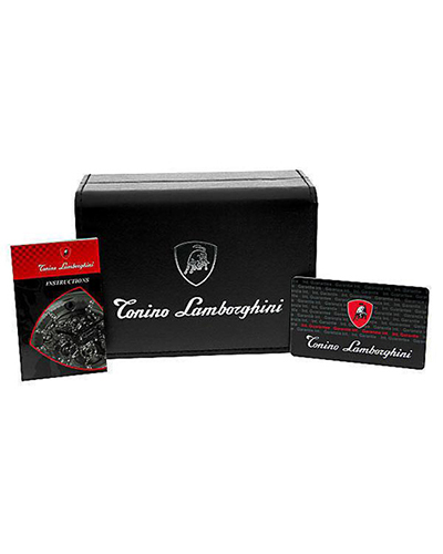 Tonino Lamborghini 兰博基尼金色316L精钢0.05克拉钻石男士三眼日历计时石英腕表 EN033D.311