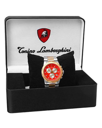 Tonino Lamborghini 兰博基尼红色316L精钢0.05克拉钻石男士三眼日历计时石英腕表 EN033D.504