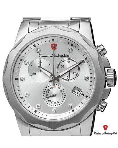 Tonino Lamborghini 兰博基尼银色316L精钢0.05克拉钻石男士三眼日历计时石英腕表 EN033D.102